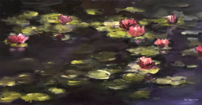 beautiful lily pads painting