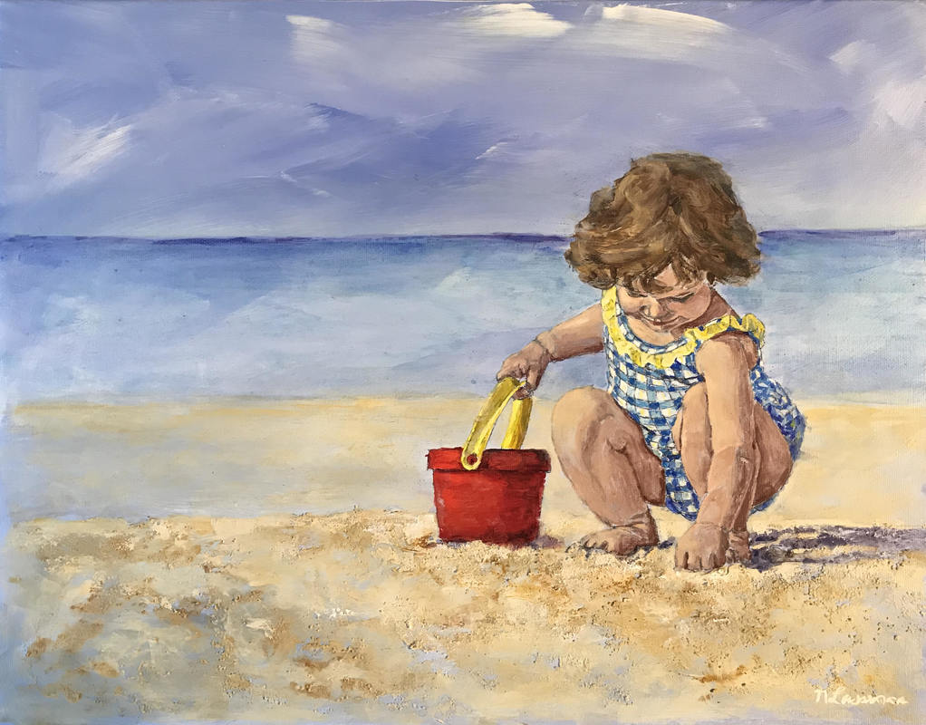 happy with my bucket girl on the beach image painting nadia Lassman art toronto
