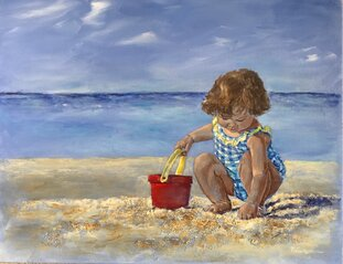 girl with bucket beach painting Nadia lassman art image