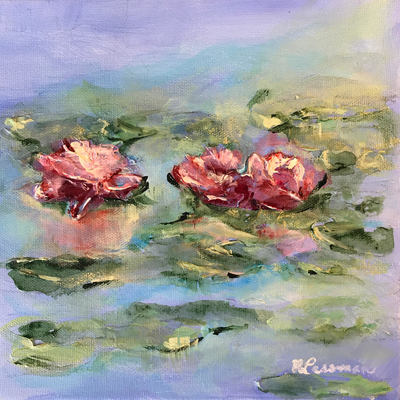three in a pond painting nadia lassman artist